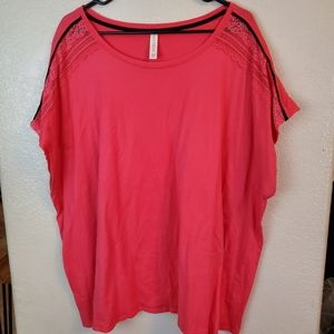 Cacique Red Lace Casual Lounge Sleep Top Shirt